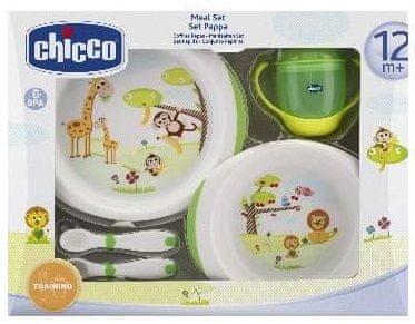 Chicco Jídelní set 12m+ (miska, talíř, příbor, hrneček)