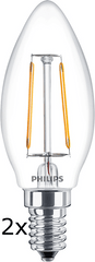Philips Filament Ledcandle classic 2-25W B35 E14 827 CL ND, 2 szt.
