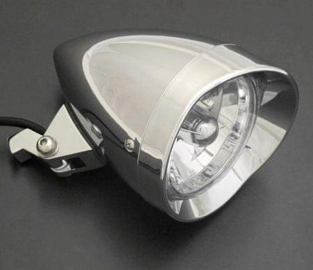 Highway-Hawk hlavní světlo STARLIGHTna motocykl  s hvězdou před žárovkou, E-mark, chrom, (1ks)