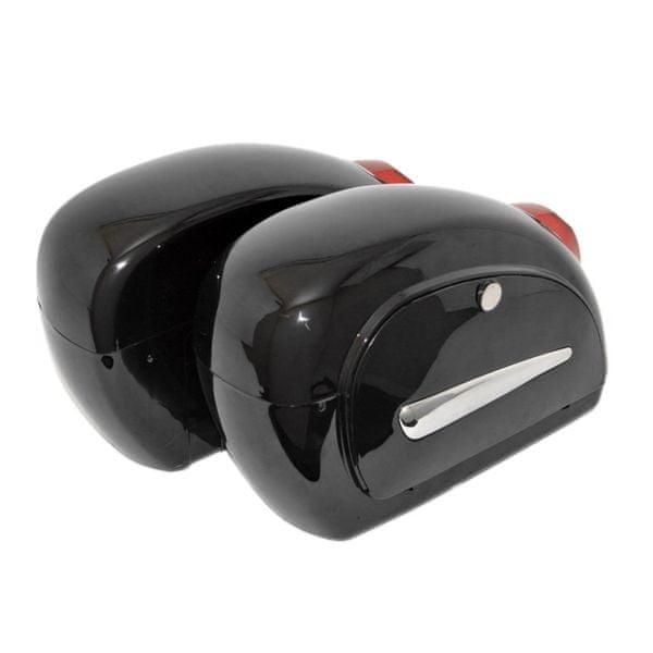 Highway-Hawk malé plastové kufry HARD BACK se světly, černá (2ks)