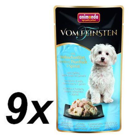 Animonda mokra hrana za pse - piscanec, tuna, špinača 9x100g