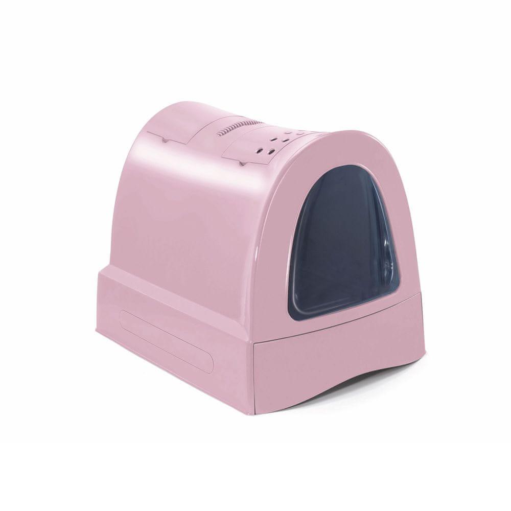 IMAC Krytý kočičí záchod s výsuvnou zásuvkou pro stelivo růžová