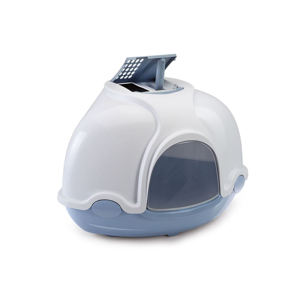 Argi Krytý kočičí záchod rohový s filtrem - modrý - 52x52x44,5 cm