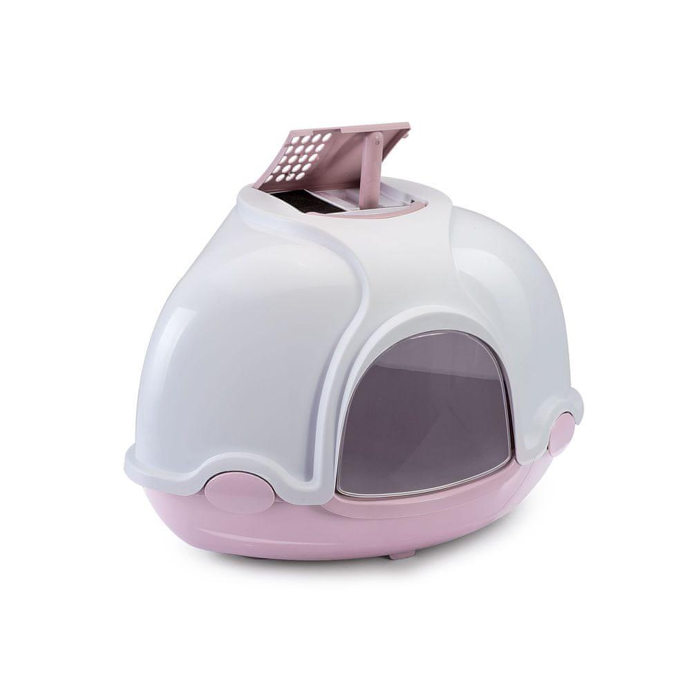 Argi Krytý kočičí záchod rohový s filtrem - růžový - 52x52x44,5 cm