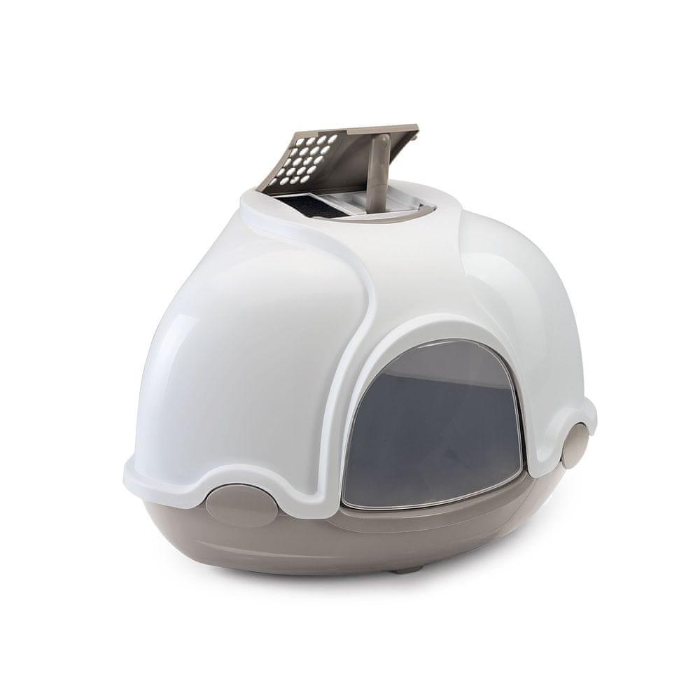 Argi Krytý kočičí záchod rohový s filtrem - šedý - 52x52x44,5 cm