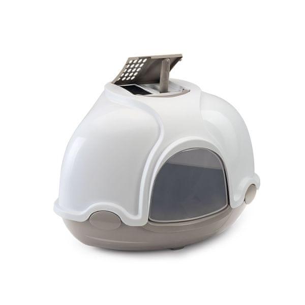 Argi Krytý kočičí záchod rohový s filtrem šedá