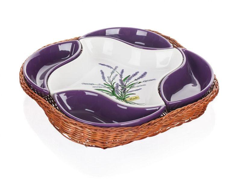 Banquet Mísa v košíku LAVENDER 28 cm, 5 dílů