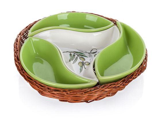Banquet zdjela u košarici OLIVES 23 cm, četiri dijela