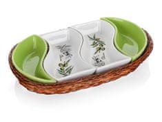 Banquet Tác v košíku OLIVES 30,5 cm, 4 díly