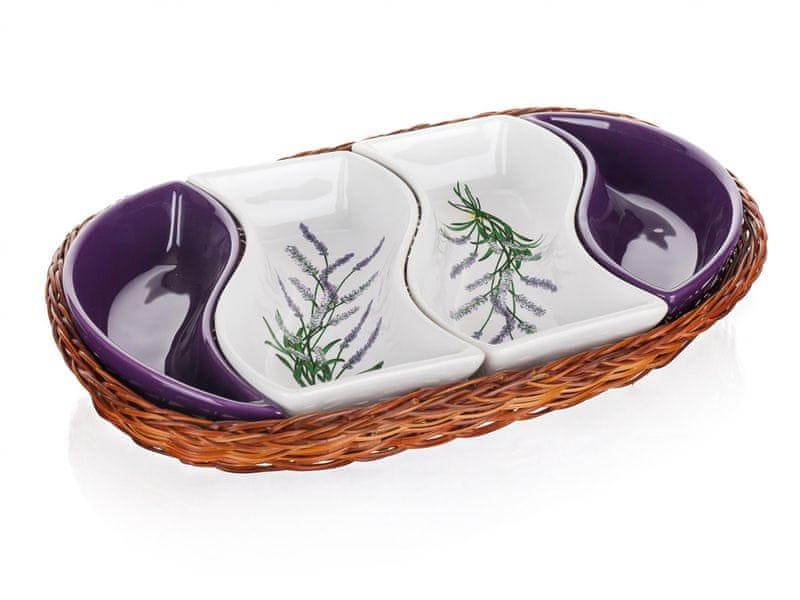 Banquet Mísa v košíku LAVENDER 30,5 cm, 4 díly