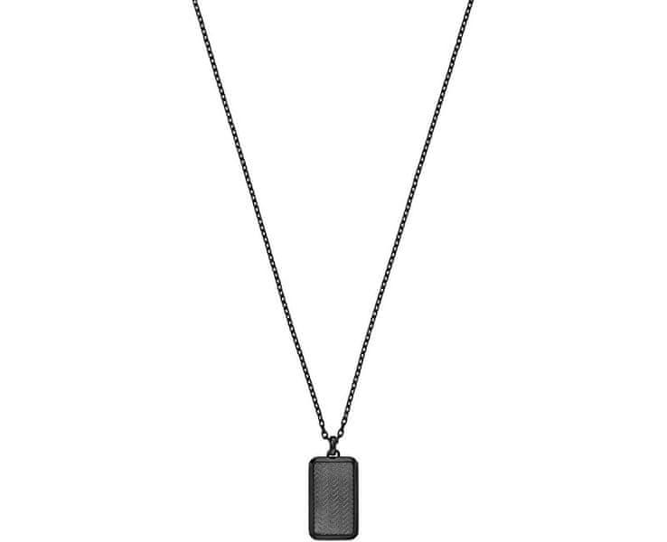 Emporio Armani Černý ocelový náhrdelník EGS2255060