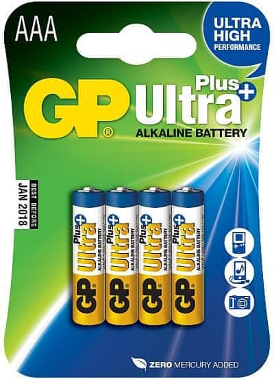 GP Alkalické baterie GP Ultra Plus (AAA), 4 ks