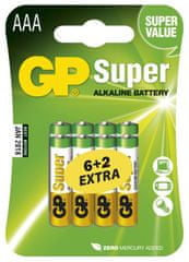 GP Alkalické baterie GP Super (AAA), 8 ks