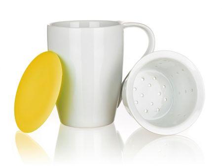 Banquet skodelica s cedilom in silikonskim pokrovčkom COLOR PLUS Yellow 350 ml