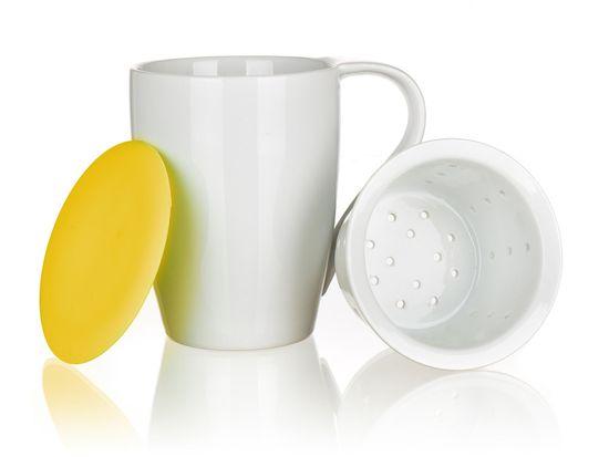 Banquet Bögre szűrővel és szilikon fedővel COLOR PLUS Yellow 350 ml
