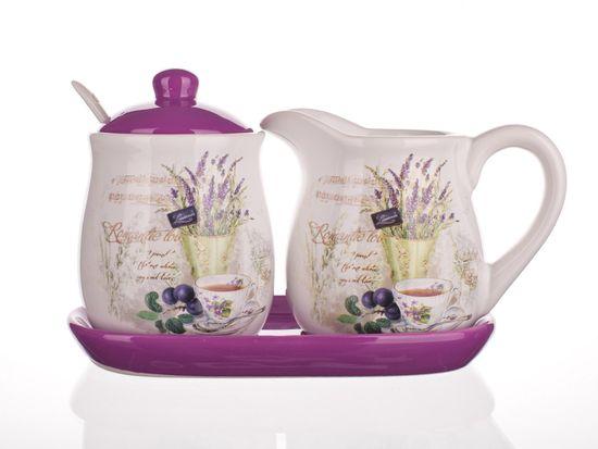 Banquet vrč za mleko in sladkornica Lavender, 4 kosi