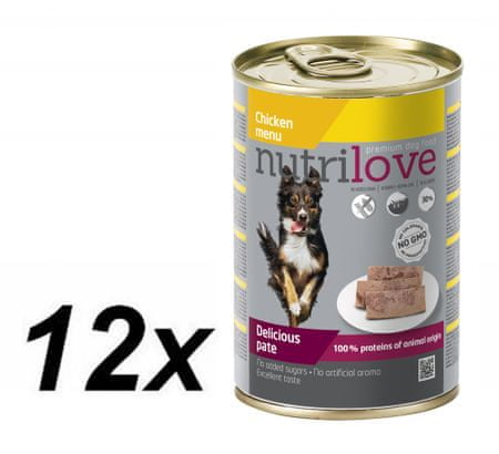Nutrilove hrana za odrasle pse Chicken Menu, pašteta s piščancem, 12 x 400 g