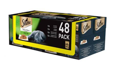 Sheba hrana za odrasle mačke Select Slices in Gravy, mesna in ribja mešanica, 4x (12 x 85 g)