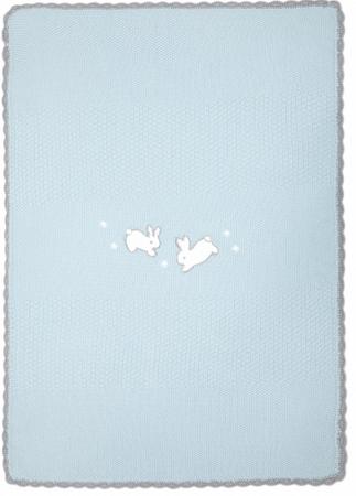 Mamas&Papas dzianinowy kocyk Króliczki, niebieski