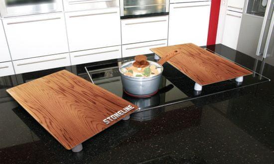 Stoneline Krycí desky na sporák/prkénko sada 2 ks dřevo - rozbaleno