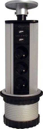 Moveto Otio výsuvná zásuvková lišta, 3 zásuvky, 2 USB porty