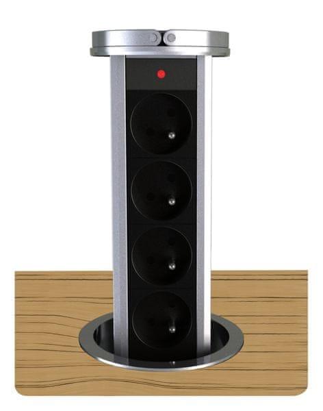 Moveto Otio výsuvná zásuvková lišta, 4 zásuvky,černo-stříbrná