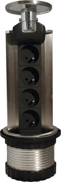 Moveto Otio výsuvná zásuvková lišta, 4 zásuvky, LED podsvícení