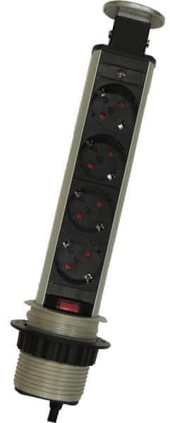 Moveto Výsuvná zásuvková lišta, 4 zásuvky
