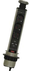 Moveto Výsuvná zásuvková lišta, 3 zásuvky, 2 USB porty