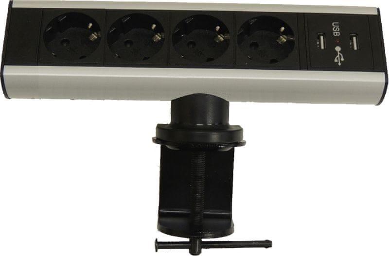 Moveto Stolní zásuvková lišta, 4 zásuvky,2 USB porty