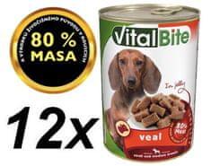 VitalBite hrana za pse, teletina v želeju, 12 x 415 g