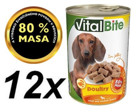 VitalBite hrana za pse, perutnina v želeju, 12 x 415 g