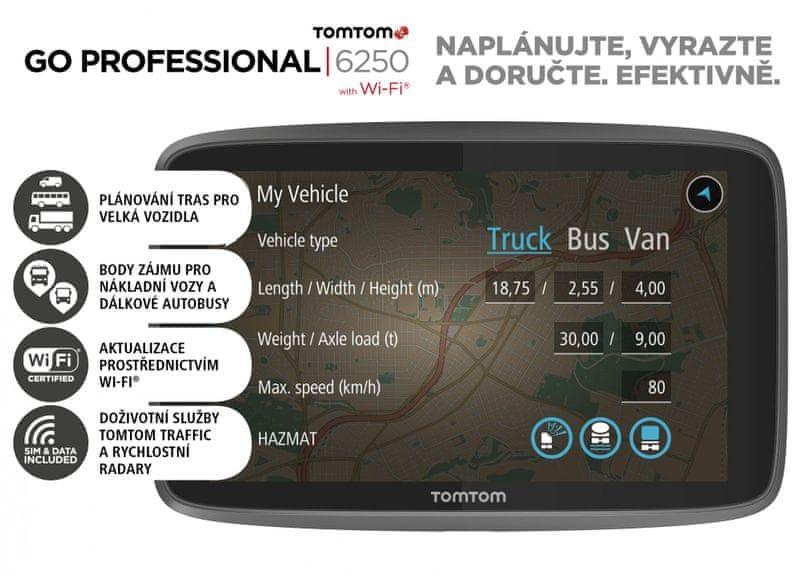 TomTom GO PROFESSIONAL 6250 - LIFETIME mapy s doživotní Traffic službou a rychlostními radary