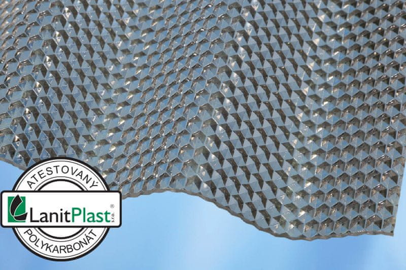 LanitPlast Vlnitý polykarbonát Marlon CSE Diamond síla 2,6 mm čirý 1,045x2,5 m