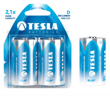 Tesla baterija D Blue+, blister, 2 kosa (LR20)