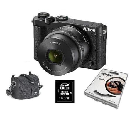 Nikon digitalni fotoaparat 1 J5 + 10-30MM (PDZ) + Fatbox + Filter, črn