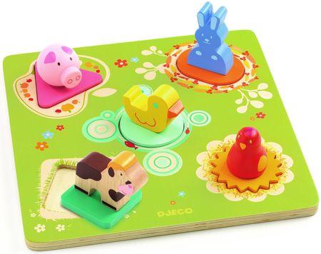 Djeco Dřevěné puzzle pro nejmenší Farma