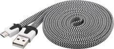 PremiumCord Micro-USB kabel (2.0; 2m), czarny/biały