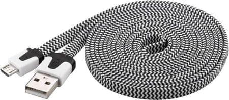PremiumCord Micro-USB kabel (2.0; 2m), černá/bílá