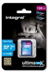 Integral spominska kartica 128GB UltimaPro X2 SDXC 280/100MB UHS-II