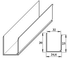 LanitPlast AL ukončovací U-profil 32 mm 6 m