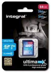 Integral spominska kartica 64GB SDXC 280/240MB UHS-II