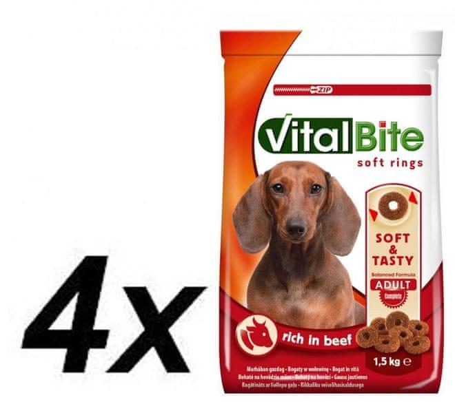 VitalBite Poloměkké granule hovězí 4 x 1,5 kg