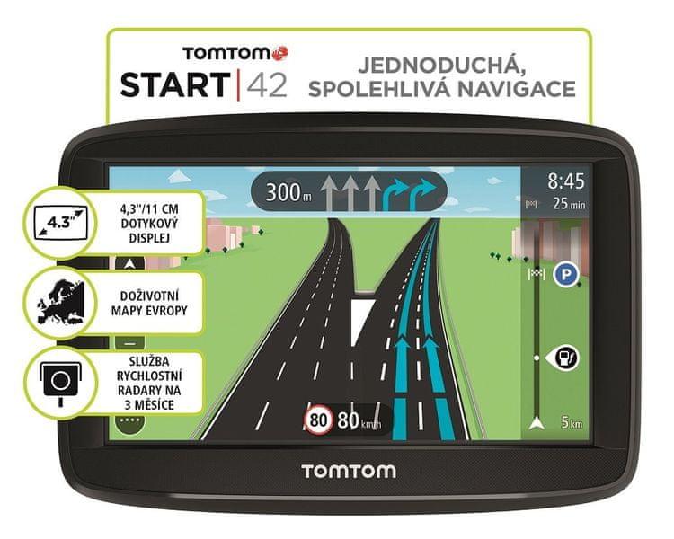 TomTom Start 42 Regional, Lifetime mapy - střední a východní Evropa