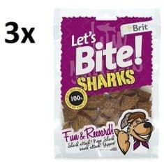 Brit pasji priboljški Lets Bite Sharks 3x150g