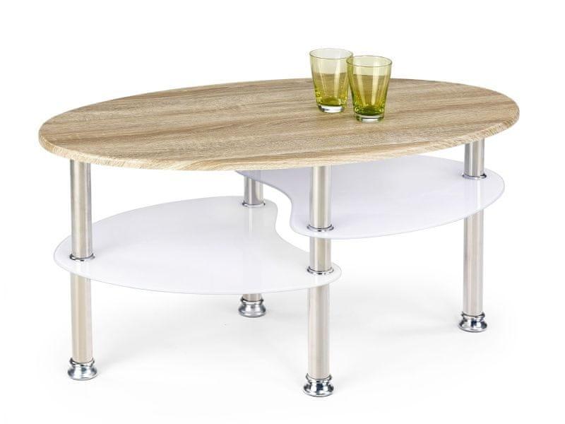 Konferenční stolek MEDDEA, bílá/dub sonoma