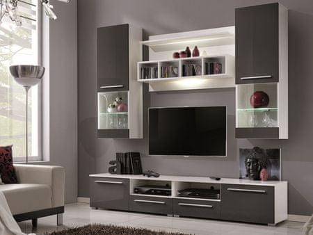 WU-2020, obývací stěna, bílá/šedý lesk