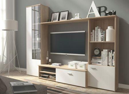 Obývací stěna HUGO, dub sonoma/bílý mat