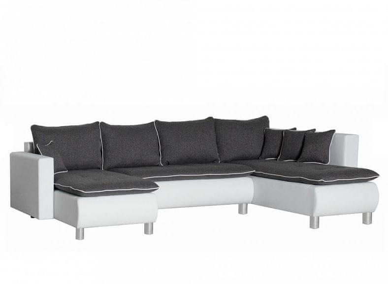 Rohová sedačka PRIMA, univerzální, šedá-bílá