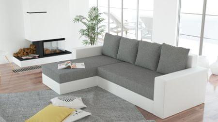 Rohová sedačka ERON 3, univerzální, šedá/bílá ekokůže